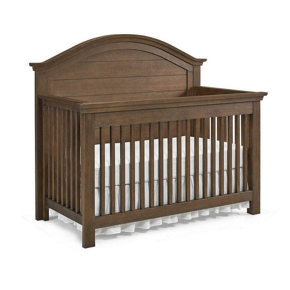 Bivona Furniture Dolce Babi Lucca Curved 4 in 1 Convertible Crib Weathered Brown