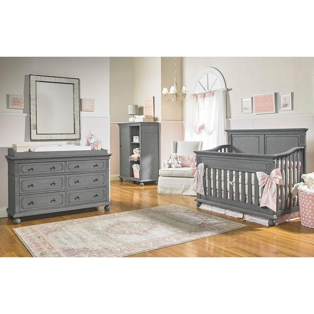 Bivona Furniture Dolce Babi Naples 4 in 1 Convertible Full Panel Crib and Double Dresser Nantucket Grey