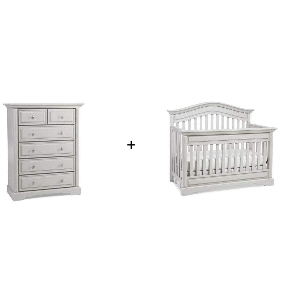 Bivona Furniture Dolce Babi Venezia 2 piece Nursery Set with Crib and 5 Drawer Chest Misty Grey