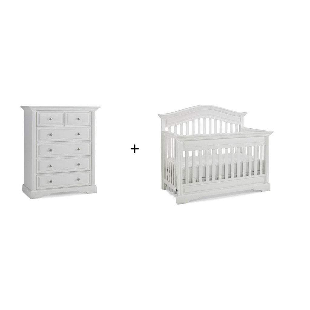 Bivona Furniture Dolce Babi Venezia 2 piece Nursery Set with Crib and 5 Drawer Chest Snow White