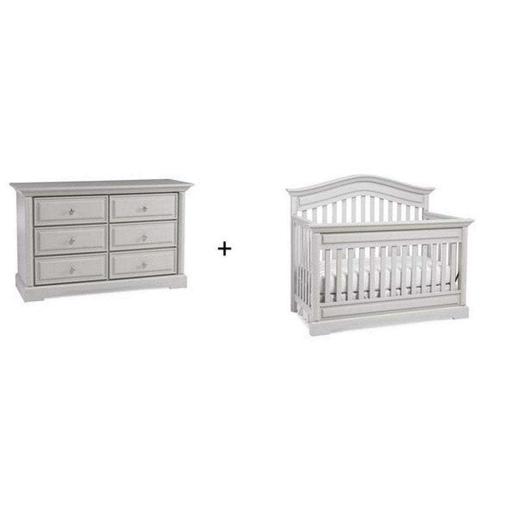 Bivona Furniture Dolce Babi Venezia 2 piece Nursery Set with Crib and Double Dresser Misty Grey
