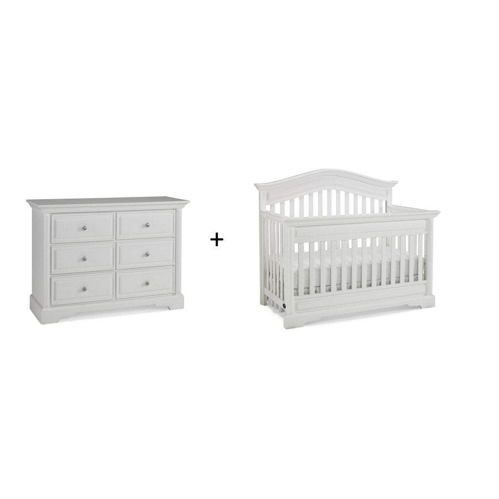 Bivona Furniture Dolce Babi Venezia 2 piece Nursery Set with Crib and Double Dresser Snow White
