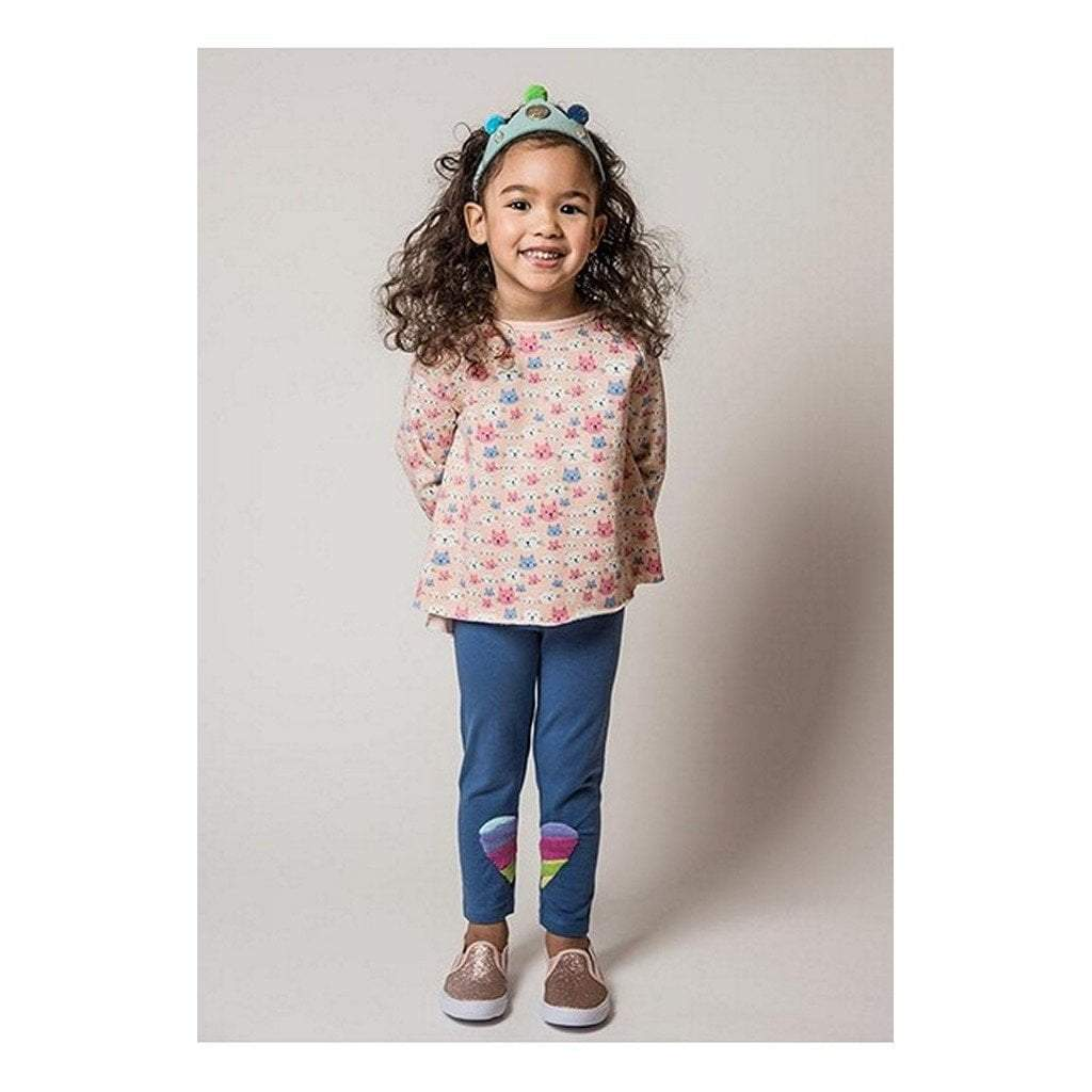 Everbloom Studios Girls Apparel 2T / Pink Everbloom Studio Girls Cat Lap Ruffle Tee with Rainboe Heart Leggings