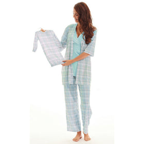 Baby Grey Gifts & Apparel Small / Blue Plaid Everly Grey 5 Piece Maternity Loungewear Set Blue Plaid