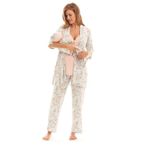 Baby Grey Gifts & Apparel Small / Pink Everly Grey 5 Piece Maternity Loungewear Set Cloud Blue