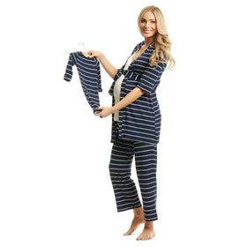 Baby Grey Gifts & Apparel Small / Navy Everly Grey Analise 5-Piece Maternity Loungewear Navy Stripe