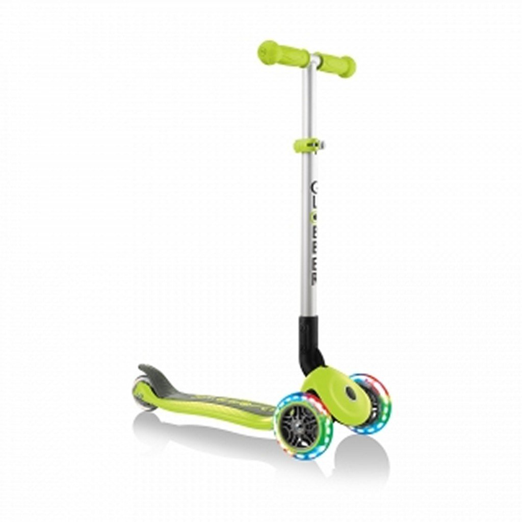 Globber Toys Globber Primo Foldable Lights Scooter Lime Green