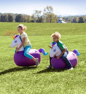 Hearth Song Toys Hearth Song Inflatable Ride-On Hop 'n Go Unicorns, Set of 2