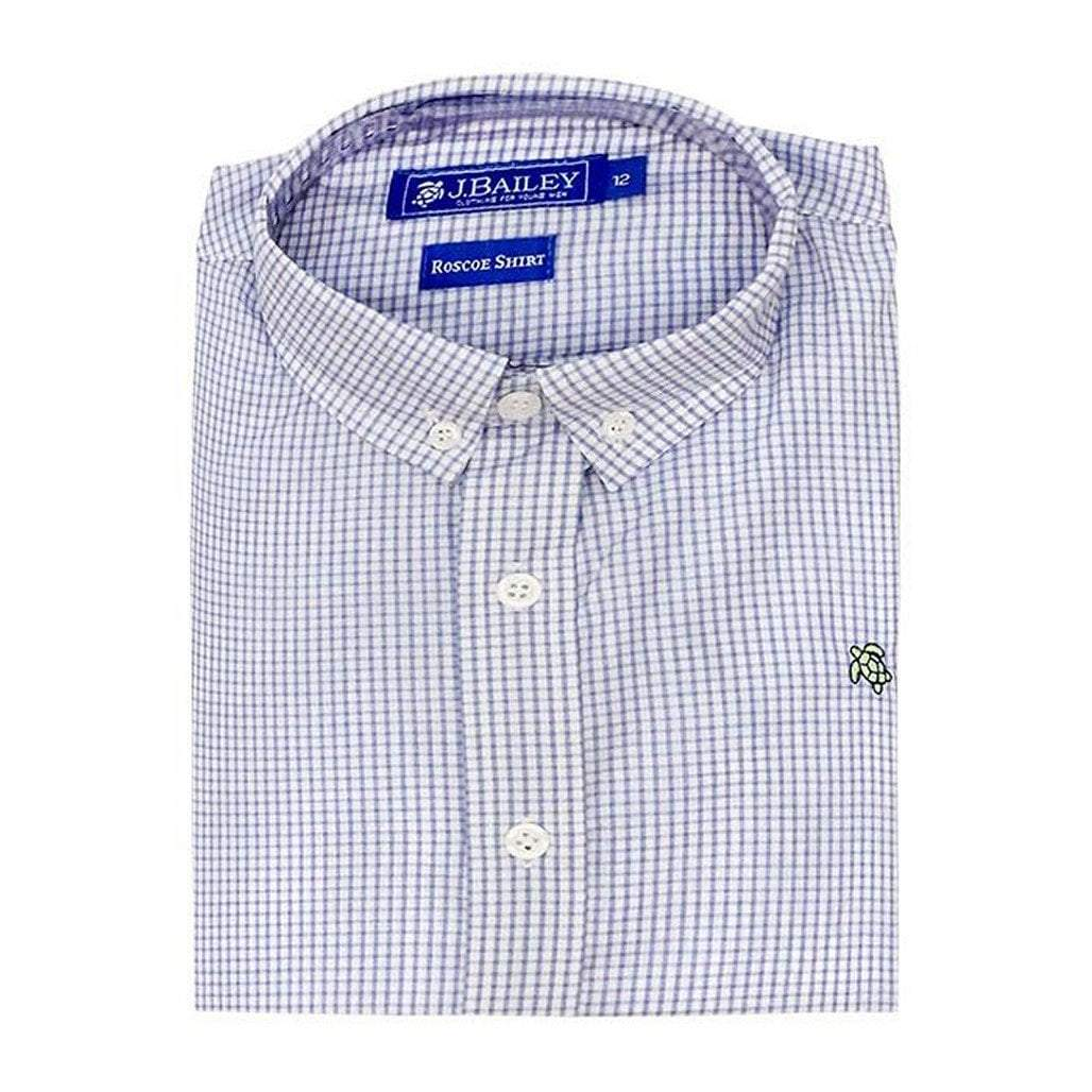 The Bailey Boys Girls Apparel J. Bailey Boys Roscoe Button Down Shirt Lt. Blue Windowpane