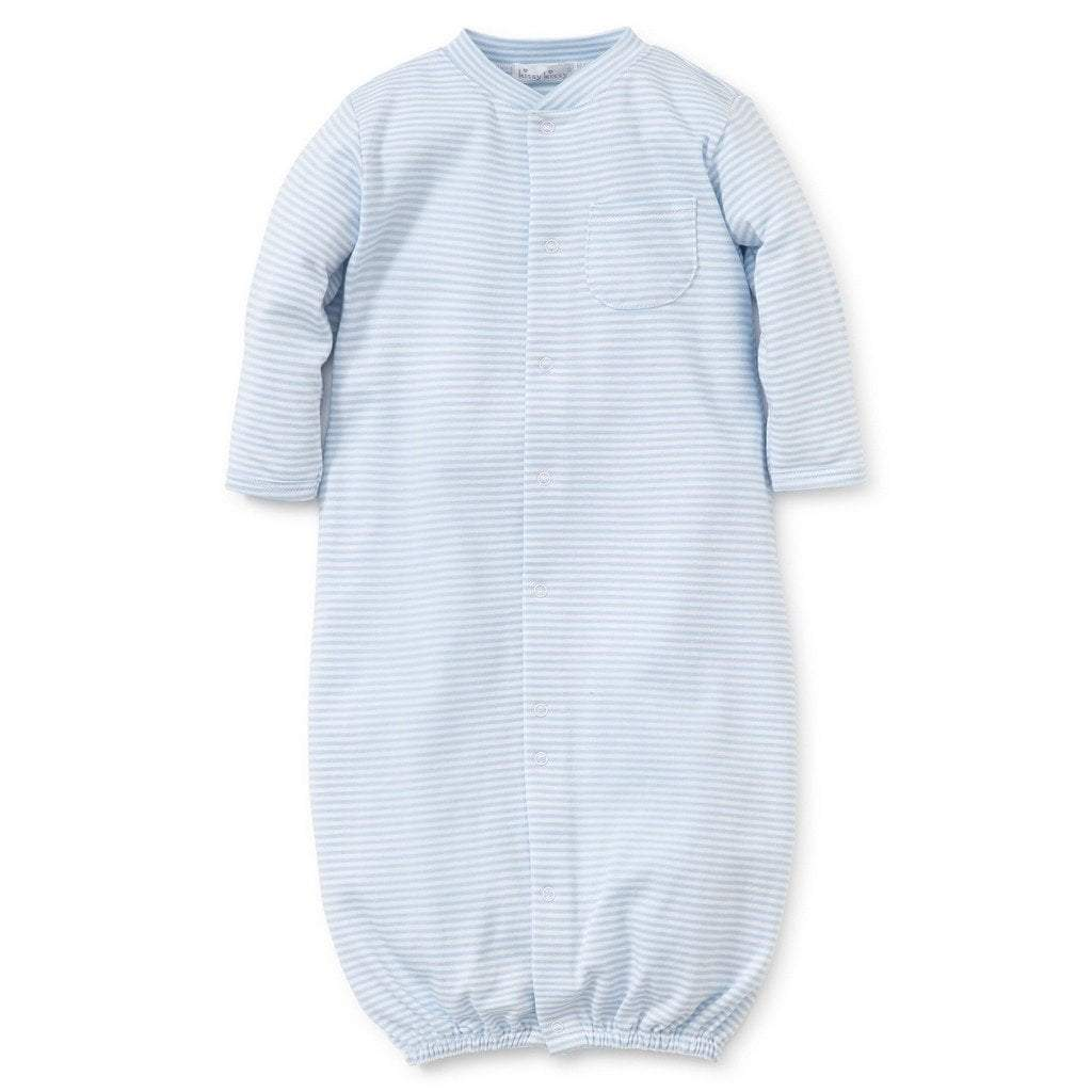 Kissy Kissy Infant Apparel Preemie / Light Blue Kissy Kissy Light Blue Simple Stripes Convertible Gown