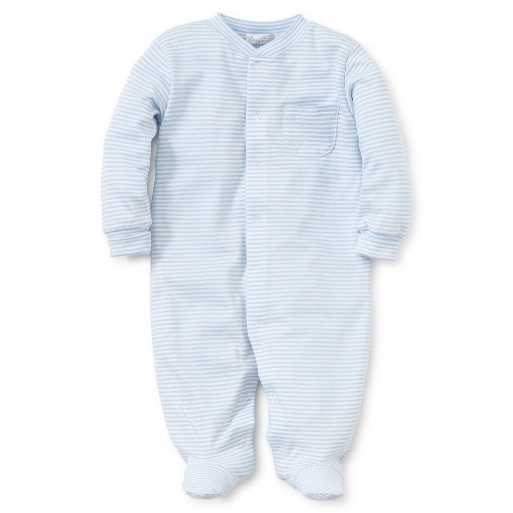 Kissy Kissy Infant Apparel Preemie / Light Blue Kissy Kissy Pima Cotton Simple Stripes Baby Footie
