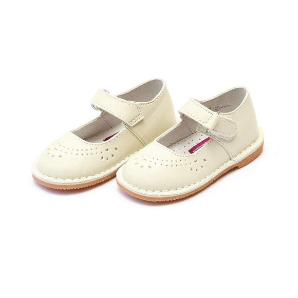 LAMOUR Shoes Toddler 5 / Ecru L'Amour Girls Toddler or Kids Classic Ecru Leather Mary Jane Shoe