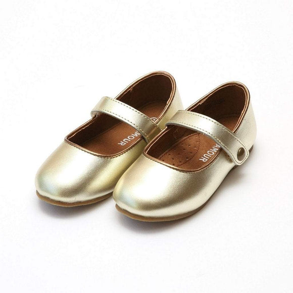 LAMOUR Shoes Toddler 6 / Gold L'Amour Mary Jane Toddler or Kid Gold Leather Flat Shoe