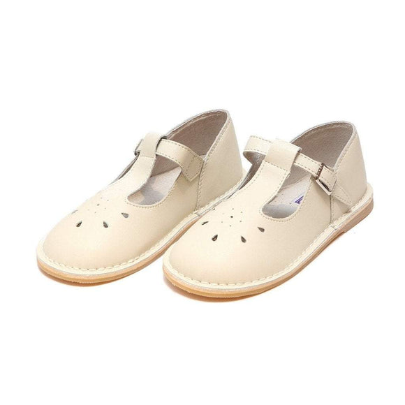 LAMOUR Shoes Toddler 7 / Ecru L'Amour Toddler Girls or Kids Ecru Leather T-Strap Shoe
