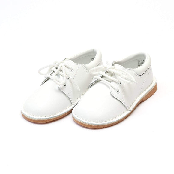 LAMOUR Shoes Toddler 5 / White L'Amour Toddler or Kid Boy White Leather Lace Up Shoe
