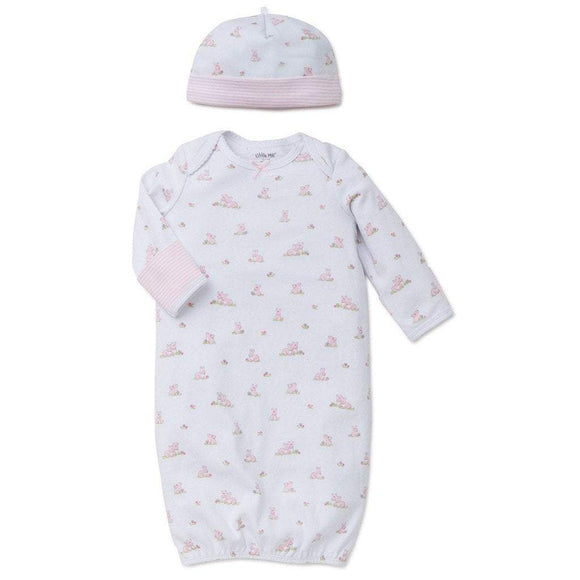 Little Me Infant Apparel NB / White Little Me Baby Bunnies Infant Baby Gown with Hat