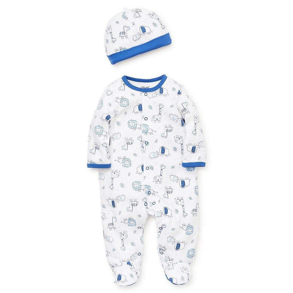 Little Me Infant Apparel NB / Blue Little Me Blue Safari Infant Baby Boys Footie with Hat