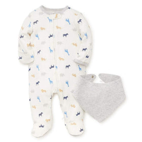 Little Me Infant Apparel NB / White Little Me Boy Safari Infant Baby Footie with Bib