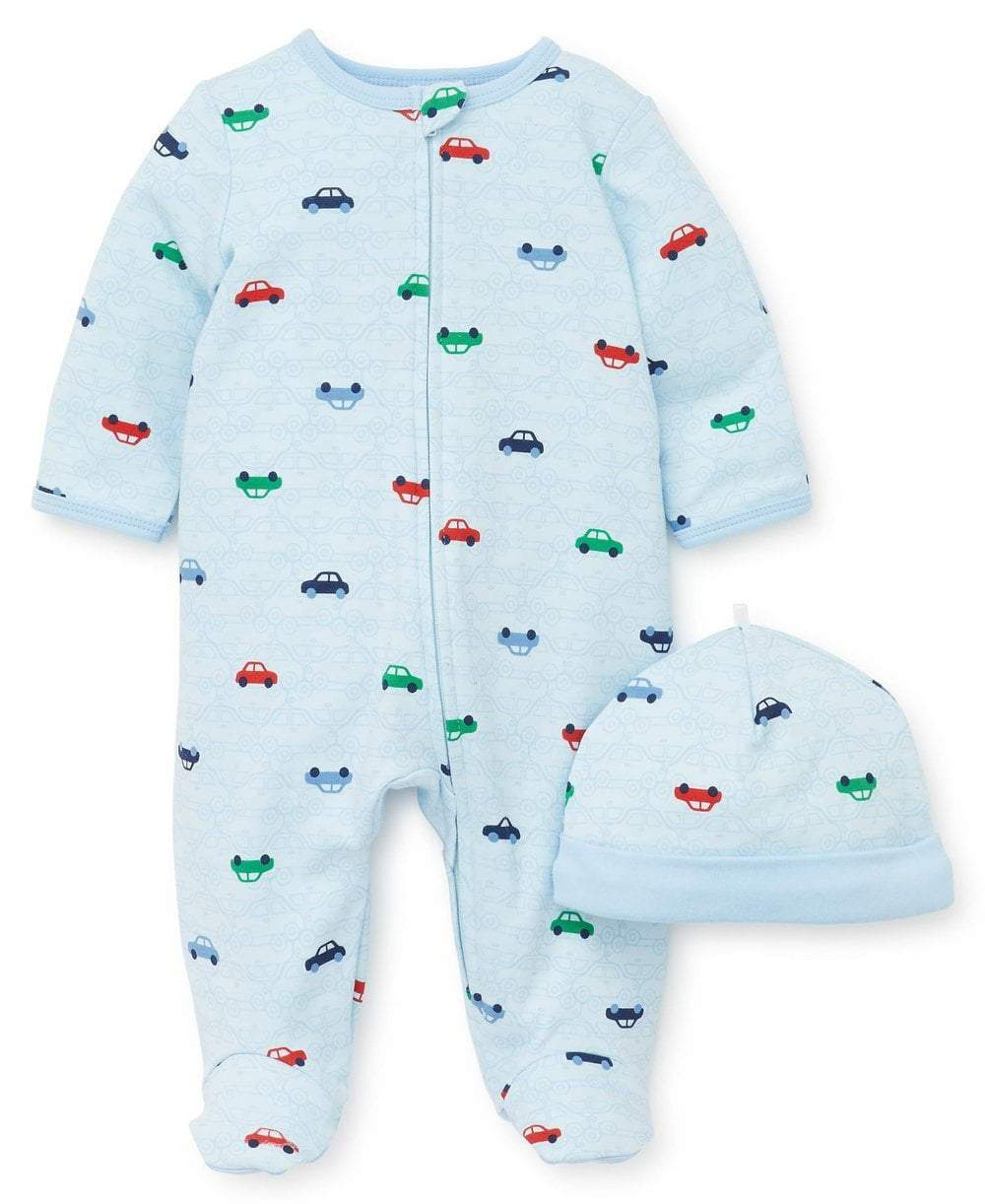 Little Me Apparel Little Me Colorful Cars Footed One-Piece and Hat