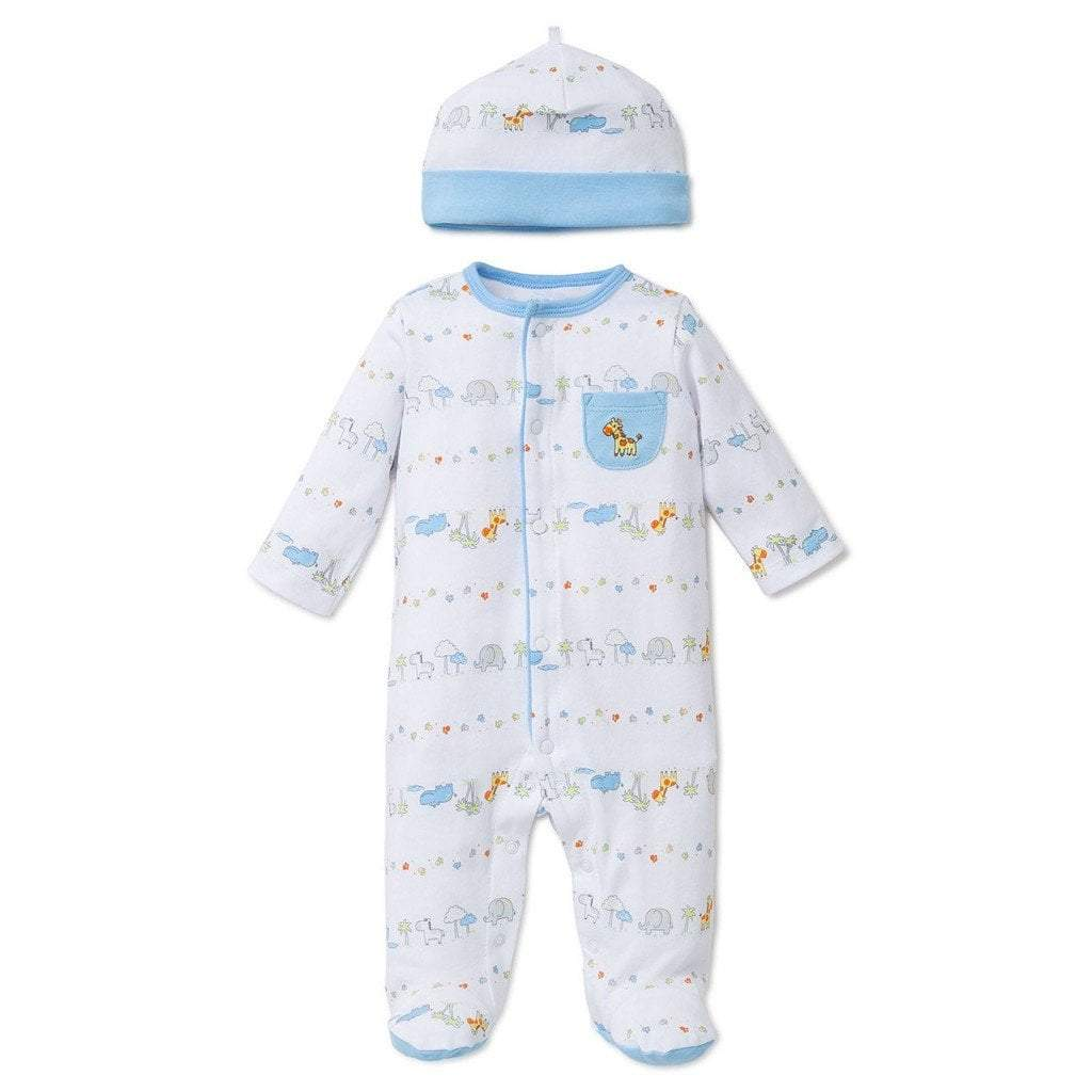 Little Me Infant Apparel NB / White Little Me Fun Safari Infant Baby Footie with Hat