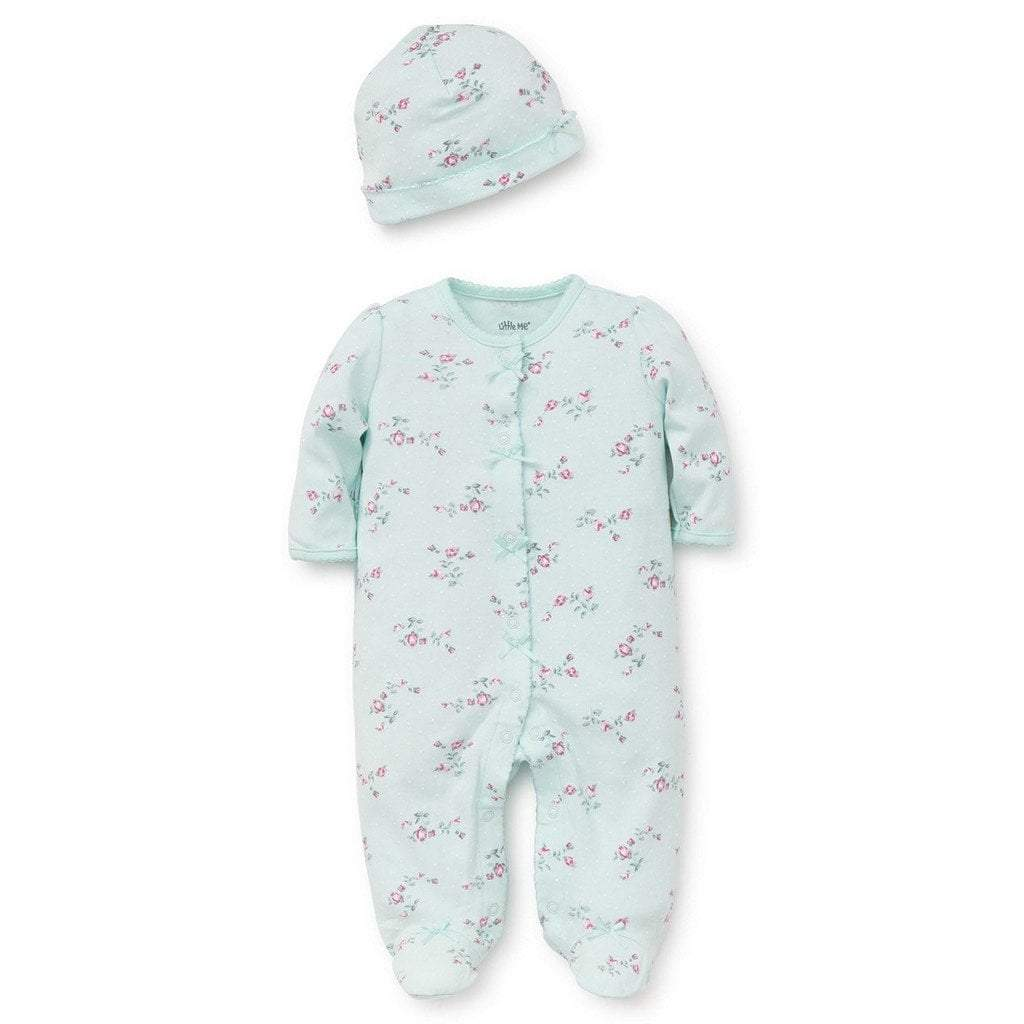Little Me Infant Apparel 3M / Mint Little Me Mint Floral Spray Infant Girls Footie with Hat