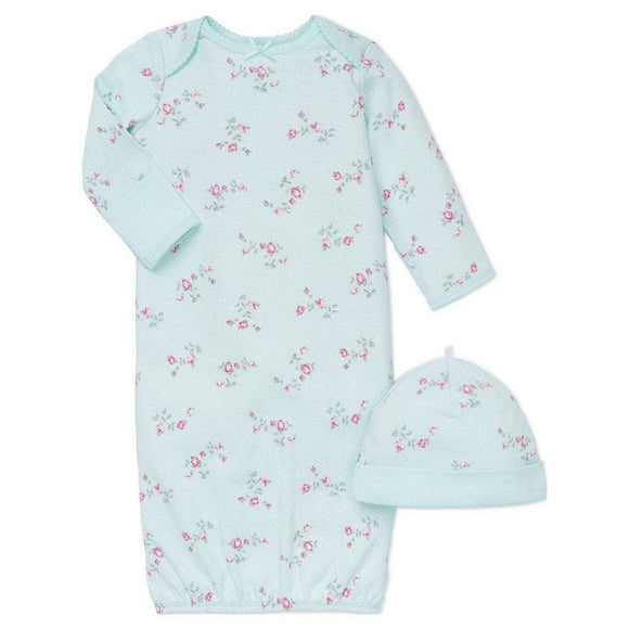Little Me Infant Apparel NB / Mint Little Me Mint Floral Spray Infant Girls Gown with Hat