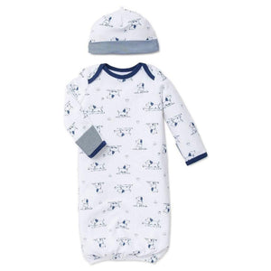 Little Me Infant Apparel OS / Navy Little Me Navy Puppy Toile Infant Baby Gown with Hat