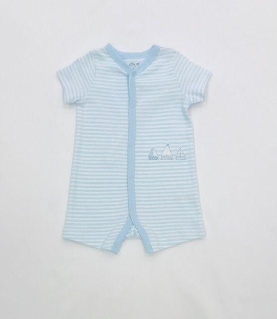 Little Me Apparel 3 MO / Blue Little Me Sails Romper Stripe