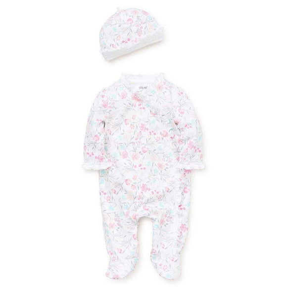 Little Me Infant Apparel NB / White Little Me Watercolor Infant Baby Girls Footie with Hat