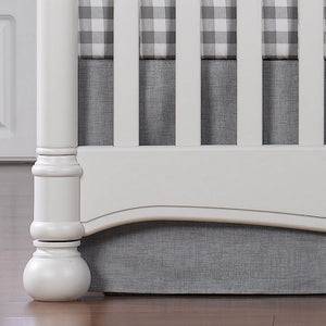 Liz & Roo Nursery Decor Liz and Roo Gray Crosshatch 17 inch Crib Skirt