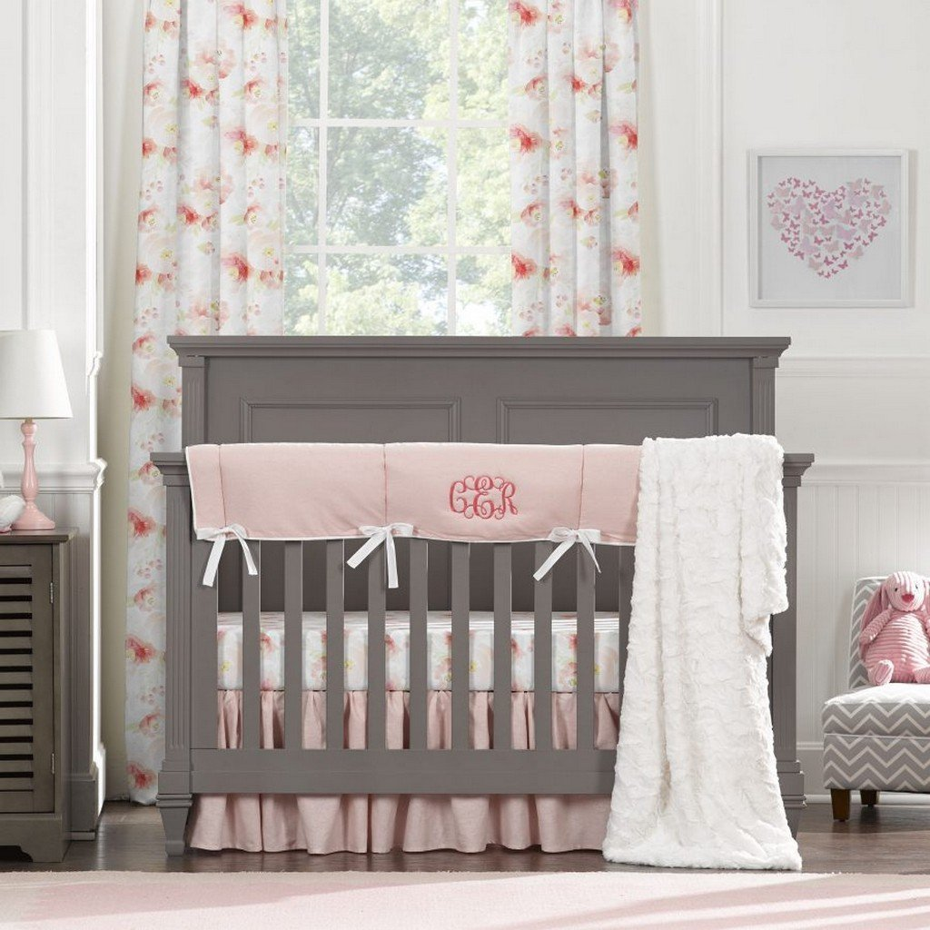 Liz & Roo Nursery Decor Liz and Roo Pink Watercolor Floral Bumperless Crib Bedding