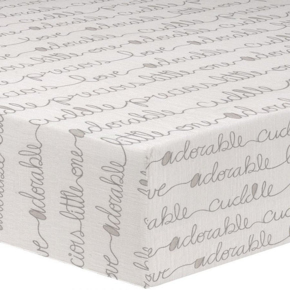 Liz & Roo Nursery Decor Liz and Roo Taupe Cursive Crib Sheet