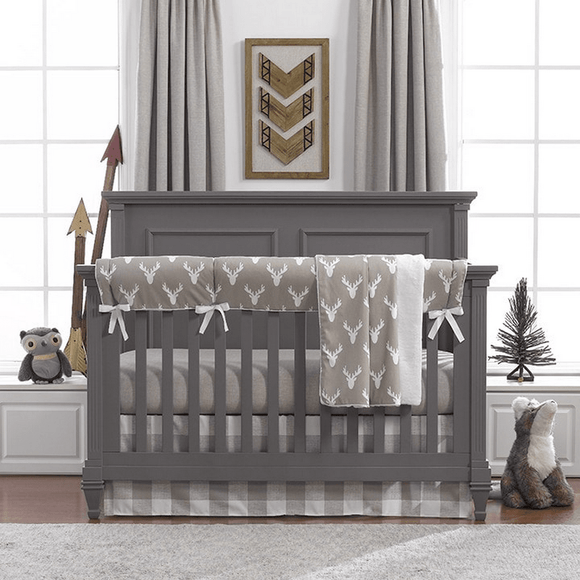 Liz and Roo Woodland Buck Baby Crib 4 PC Bedding Set-Nursery Decor-Babysupermarket
