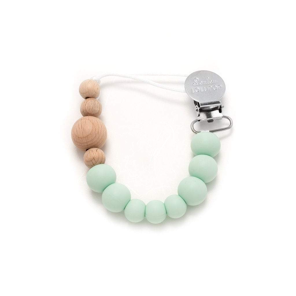 Loulou Lollipop Baby Care Loulou Lollipop Colour Block Sweet Mint Silicone and Wooden Pacifier Clip