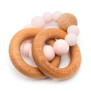 Loulou Lollipop Baby Care Loulou Lollipop Pink Quartz Bubble Silicone and Wood Teether