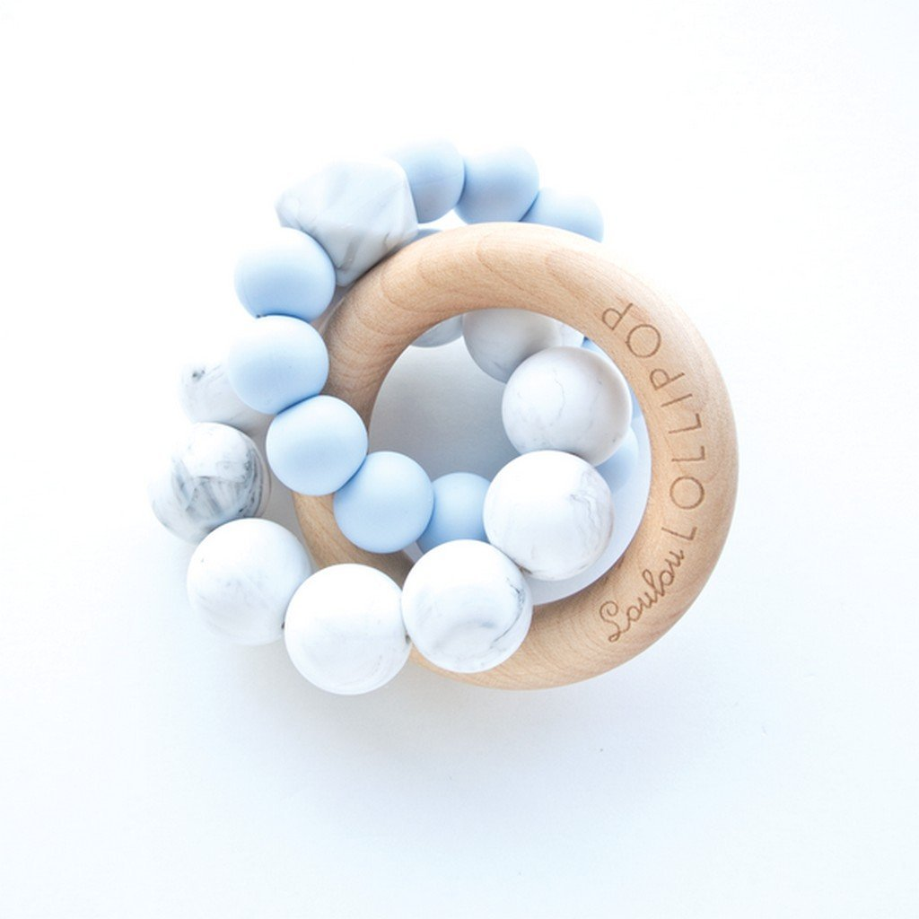 Loulou Lollipop Baby Care Loulou Lollipop TRINITY SILICONE AND WOOD TEETHER - BABY BLUE