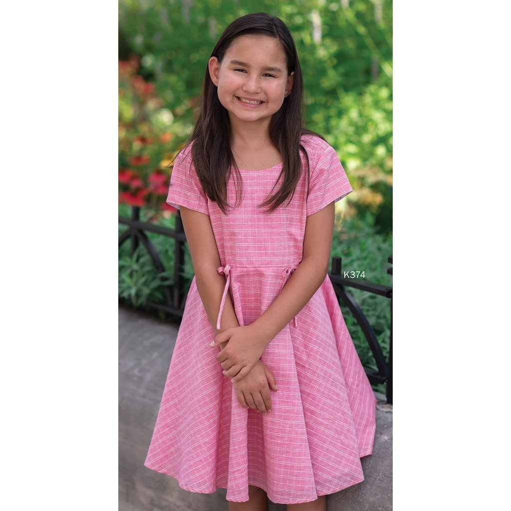 Mabel & Honey Girls Apparel 7 Mabel & Honey Girls Coral Check Dress