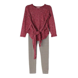 Mabel & Honey Girls Apparel 7 / Red Mabel & Honey Girls Red Top with Stripe Leggings Set