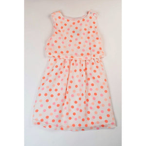 Maggie Breen Girls Apparel Maggie Breen Peachy Keen Girls Peachy Dots Flounce Dress
