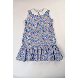 Maggie Breen Girls Apparel Maggie Breen Singing the Blues Girls London Floral Ruffle Dress
