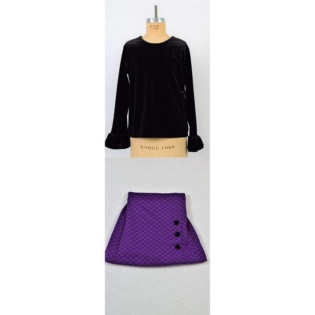 Maggie Breen Girls Apparel 8 / Black Maggie Breen Too Girl's Black Stretch Velvet Top and Purple Quilted Skirt