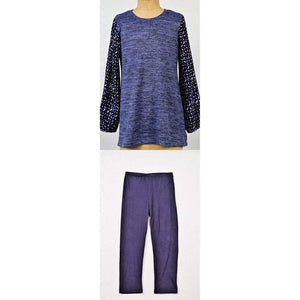 Maggie Breen Girls Apparel 7 / Blue Maggie Breen Too Girl's Blue Top with Print Sleeves and Navy Leggings