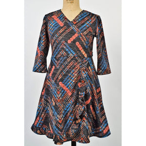 Funtasia Girls Apparel 7 / Multi Maggie Breen Too On the Fringe Girl's Geometric Print Knit Dress