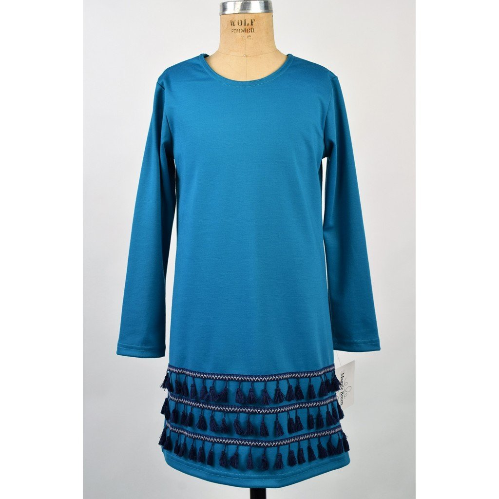 Funtasia Girls Apparel 7 / Blue Maggie Breen Too On the Fringe Girl's Ponte Knit Dress with Navy Fringe