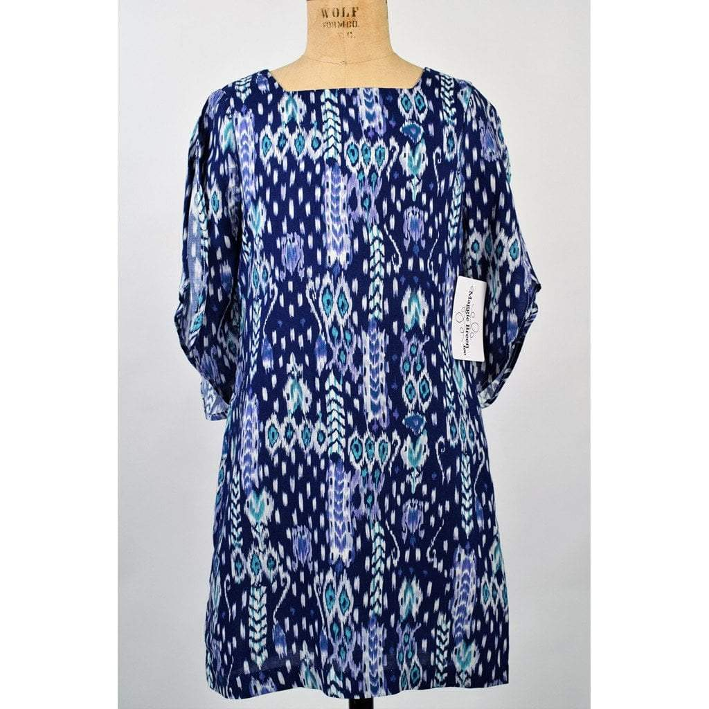 Funtasia Girls Apparel 7 / Blue Maggie Breen Too Out of the Blue Girl's Aztec Print Butterfly Sleeve Dress