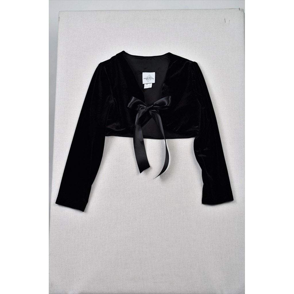 Funtasia Girls Apparel 7 / Black Maggie Breen Too Party Time Black Stretch Velvet Shrug