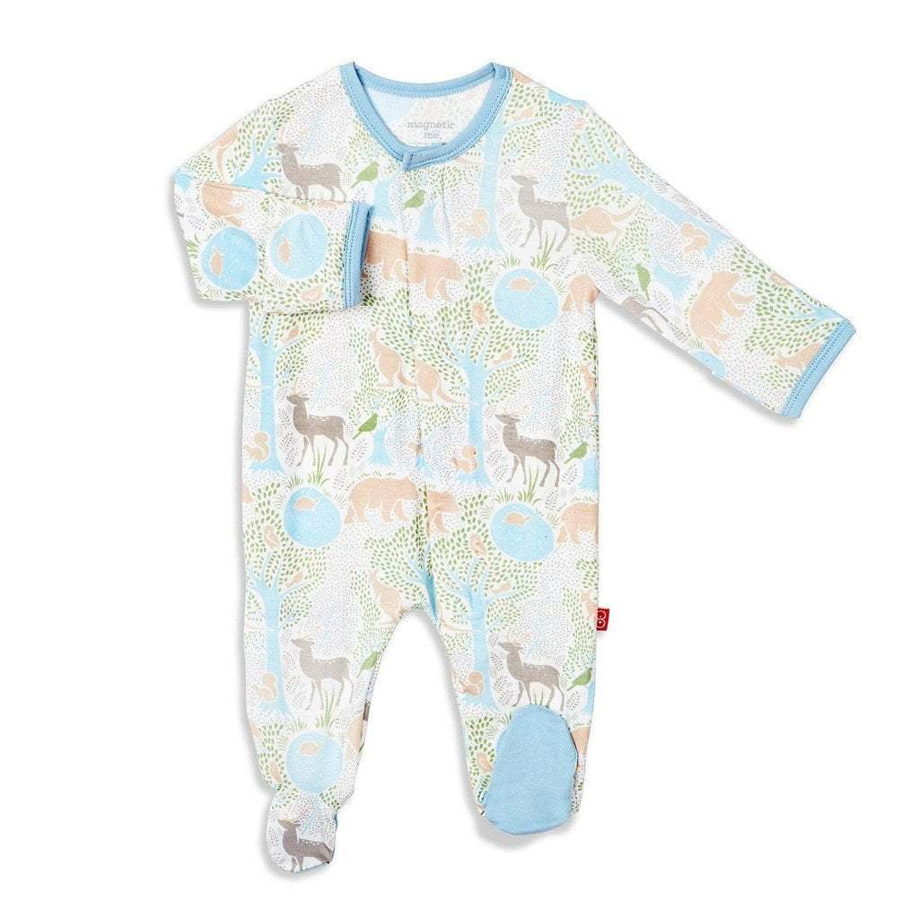 Magnificent Baby Boys Apparel 3-6M / Blue Magnificent Baby Acadia Modal Magnetic Infant Footie