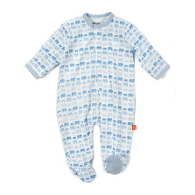 Magnificent Baby Infant Apparel 3-6M / Blue Magnificent Baby Blue Dancing Elephants Infant Footie