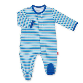 Magnificent Baby Gifts & Apparel 0-3 Month / Blue Magnificent Baby Blue Stripe Infant Magnetic Footie