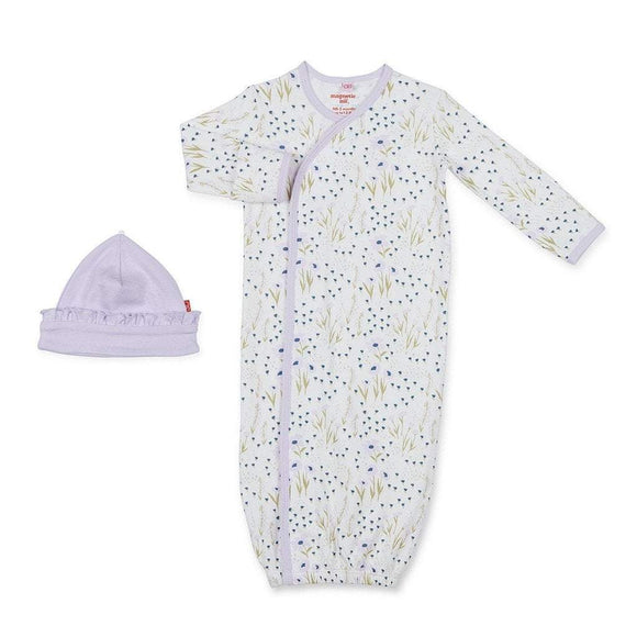 Magnificent Baby Infant Apparel NB-3M / Purple Magnificent Baby Fieldston Cotton Magnetic Gown w/Hat